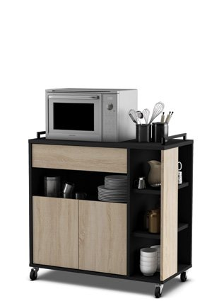 Mueble de cocina auxiliar para microondas en color negro y roble ...