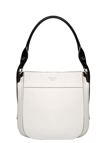 (Prada Women's 1Bc0762aixf0964 White Leather Handbag)