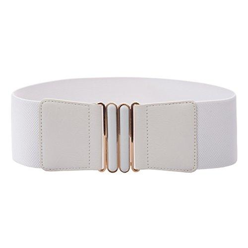 (Women's Wide Stretchy Waist Belt Suede Buckle Waistband White Size M BP768-2 )