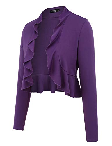 - FISOUL Women's Open Front Cropped Cardigan Lone Sleeve Casual Shrugs Jacket Draped Ruffles Lightweight Sweaters Purple M