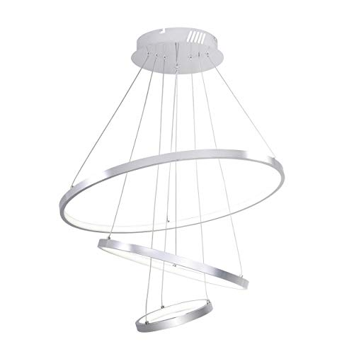ISRAMP Chandelier Pendant Light Acrylic LED Hanging Light Fixture for Living Room/Dining Room, 60W Three Ring (Push Down) ()