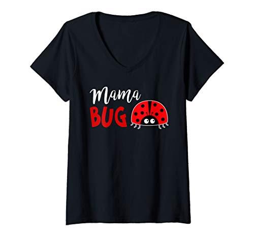 Pink Ladybug Costume (Womens Womens Ladybug Shirt Mama Bug V-Neck)