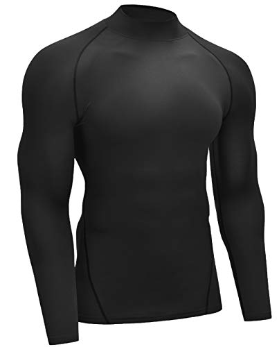 Vogyal Men's Compression Shirt Dry Fit Running Long-Sleeve Workout Sports Baselayer Top, One Piece_Black, Medium
