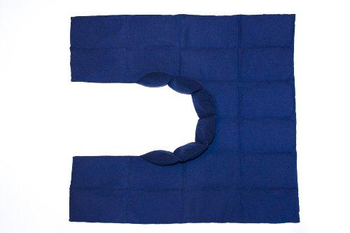 Körnerkissen - Nackenkissen - Wellnesskissen - Wohlfühlkissen- Großes Wärmekissen mit Kragen - Füllung gereinigter Weizen - Farbe blau