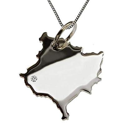Halskette mit Kanada Ahornblatt mit Brillant in 925 Silber