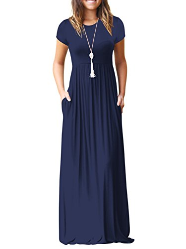 SUNJIN ARCO Womens Short Sleeve Maxi Dress Pockets Loose Plain Casual Floor Length Long Dresses