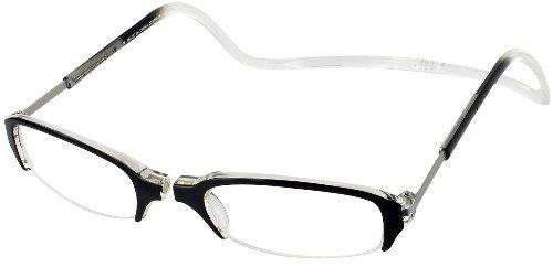 Clic Semi-Rimless Designer Reading Glasses, Black / Crystal, +1.75 by Clic Reading - Online Designer Glasses