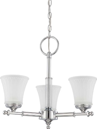 Nuvo Lighting 60 4266 Three Light Teller Chandelier with Frosted Etched Glass, Polished Chrome