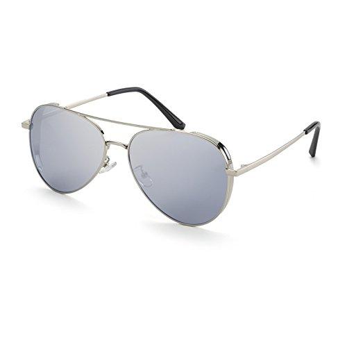 Azul Sol Elegante polarizadas de Gafas Gafas Silver Mujer de Gafas Mujer TL Sol Sol de Gafas Sol Sunglasses de polarizadas piloto qHfgUz