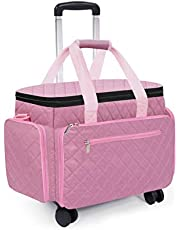 Sewing Machine Case with Wheels Sewing Bag Rolling Sewing Machine with Diamond Quilt Design Removable Trolley Multidirectional Wheels Travel Tote Cases Compatible with Brother Singer Machines