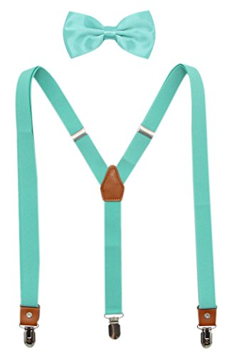 Suspenders And Pre-Tied Bowtie Set For Boys And Men By JAIFEI, Casual And Formal (Boys(33 Inches), Teal) by JAIFEI