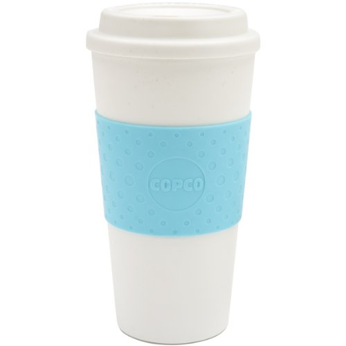 Copco 2510-9917 Acadia Double Wall Insulated Travel Mug with Non-Slip Sleeve, 16-Ounce, Azure Blue ()