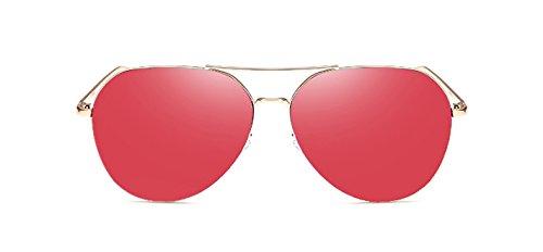 Vintage gafas Mujer de rojo gris conducción Piloto de reborde Oro aviación para sin de gafas sol hombre espejo de mujeres sol ZHANGYUSEN Moda oro de na8AqWwa4