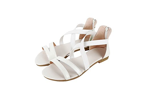 Toe Womens AalarDom Heels Sandals White Open PU TWOHHL Low Solid 4nnT6xR