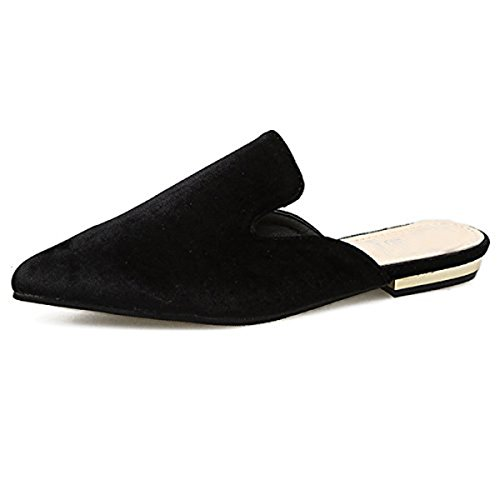Dear Time Women Faux Suede Pointy Toe Mule Slippers Summer Fashion Casual Flats Shoes Black US 8.5 by Dear Time