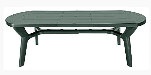 Mesa de jardín extensible de plástico/resina, 180/230 cm, Verde ...