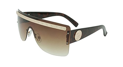 Georgio Caponi Rimless Greek Key Flat Top Shield Sunglasses (Brown Tortoise & Gold, ()