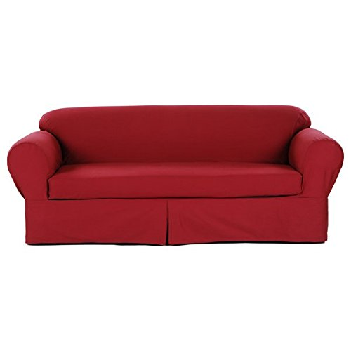 Two Piece Dark Red Home Decor Slipcover, Relaxed Fit Sofa Co