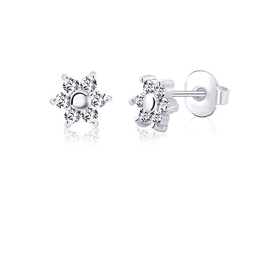 (Hypoallergenic Silver Flowers Stud Earrings for Women Teens Girls 316L Stainless Steel for Sensitive Ears Nickel Free Jewelry)