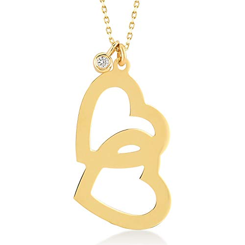 (Gelin 14k Yellow Gold 0.01 ct Diamond Two Connected Open Heart Chain Necklace for Women - with Certificate and Lovely Jewelry Box, 18 inch)