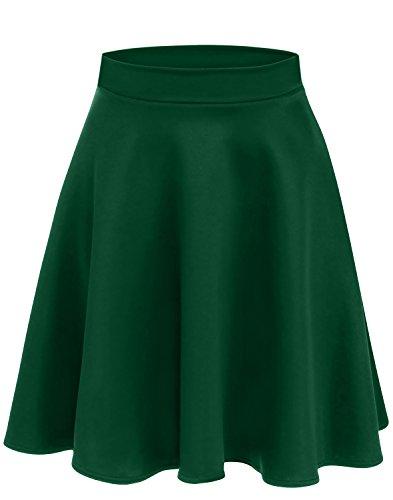 Hunter Green Skirts for Women Stretch Skirt Green a Line Midi Skirt Elastic Waist Skirt Hunter Green Skirt (Size X-Large (US 14-16), Hunter Green) A-line Elastic Waist Skirt