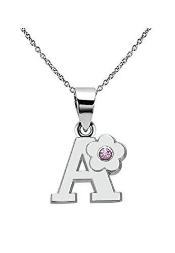 Kebaner Pink Crystal Flower Letter Initial Alphabet A Script Word Jewelry Pendant Necklace -