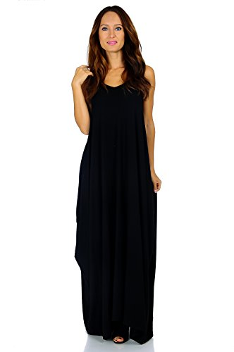 Simply Ravishing Rayon Span Maxi Boho Harem Spaghetti Strap Dress, X-Large, Black