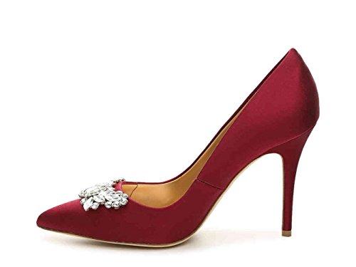 Badgley Mischka Womens Serra Pointed Toe Classic Pumps, Red sat, Size 8.0