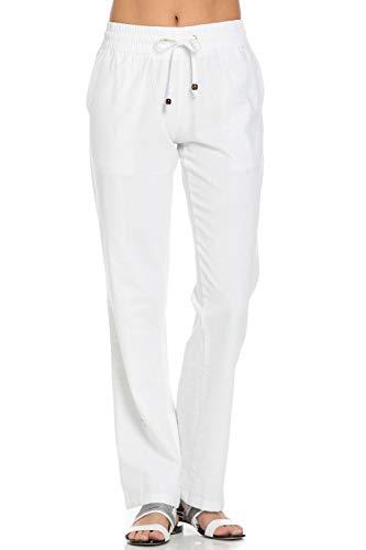 Poplooks Women's Comfy Elastic Waistband Drawstring Linen Pants (Large, White)