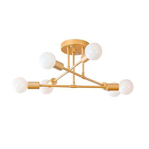 Hsyile Lighting KU300195 Modern-Industrial Style Indoor Chandelier,Flush Mount Ceiling Light Modern Pendant Light,Perfect for Kitchen Bathroom Dining Room Bedroom Hallway etc,6 Lights
