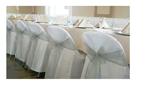 SPRINGROSE 100 White Polyester Standard Folding Wedding Chair Covers. Chair Sash is Not -