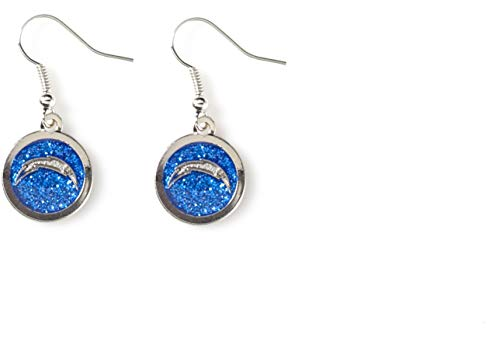 Diego San Chargers Womens (NFL Los Angeles Chargers Glitter Dangler Earrings)