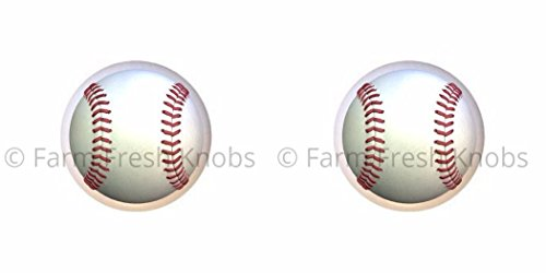 (SET OF 2 KNOBS - Baseball - Sports and Recreation - DECORATIVE Glossy CERAMIC Cupboard Cabinet PULLS Dresser Drawer KNOBS)