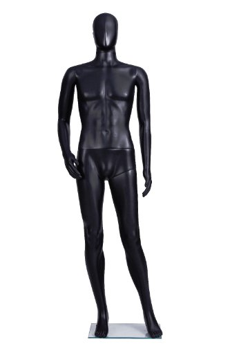 Male Full Body Durable Plastic Abstract Egg Head Mannequin With Movable Head Black (SM1 BLK) (Male Heads)