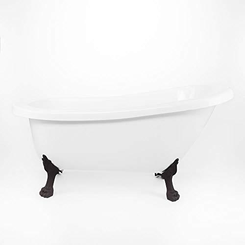 Randolph Morris 62 Inch Acrylic Slipper Clawfoot Tub - No Faucet Drillings - Lion Paw Feet (Feet Lion Faucet No Paw)