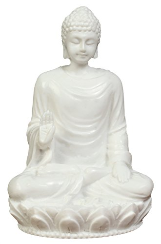 JB Premium 3in Buddha Statue/Idol/Decorative Figurine: Poly Marble with White Marble Finish. Premium Quality Buddha Idol in Meditation Pose. Serene Small Buddha Statue. Buddha Décor for Good Luck.