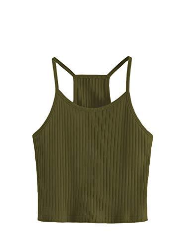 - SheIn Women's Summer Basic Sexy Strappy Sleeveless Racerback Crop Top Medium Army Green#2