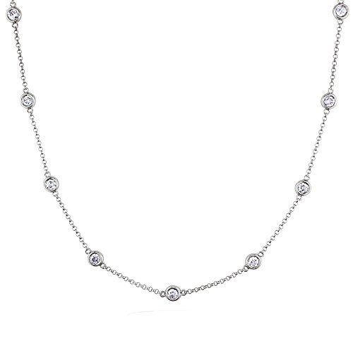 Voss+Agin 14K White Gold Genuine Diamond by The Yard Strand Necklace.25CTW