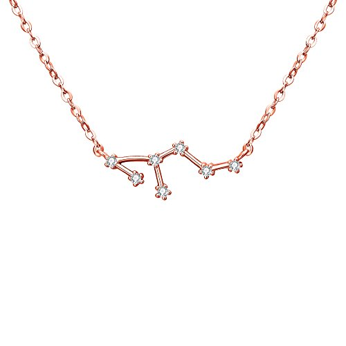 Charm Gold Leo Zodiac - BriLove Rose-Gold-Toned 925 Sterling Silver Necklace -