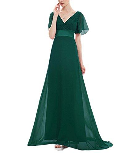 Longue En Mousseline Vert Robe De Demoiselle D'honneur Dkbridal Robe De Bal Du Soir Manches Flutter Col V