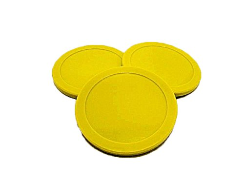 Game Room Guys Set of (3) 3-1/4'' Yellow Air Hockey Puck