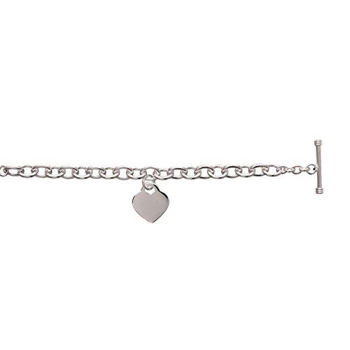 MARY JANE - Bracelet Argent Femme - Longueur 19cm - Argent 925/000 (Coeur) - GRAVURE OFFERTE