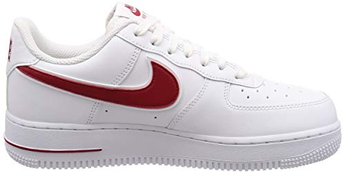 Nike Mens Air Force 1 07 3 Leather Synthetic White Gym Red Trainers 9 US
