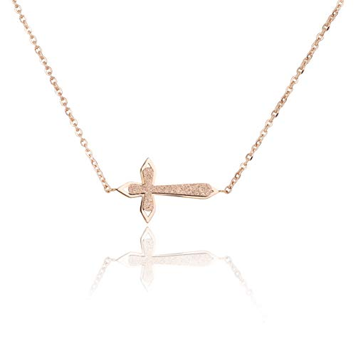 WDSHOW Sideways Cross Necklace Frosted 18k Rose Gold -