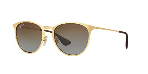 Ray-Ban Womens Erika Metal Sunglasses (RB3539) Gold Matte/Brown Metal - Polarized - 54mm