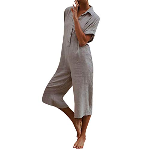 Aniywn Women's Oversize Short Sleeve Casual Solid Harem Pants Loose Button Wide Leg Trousers Jumpsuit Gray