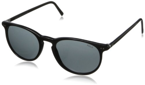 Polo Ralph Lauren Men's Ph4044 Round Sunglasses,Shiny Black,52 mm (Ralph Sunglasses Polo Lauren)