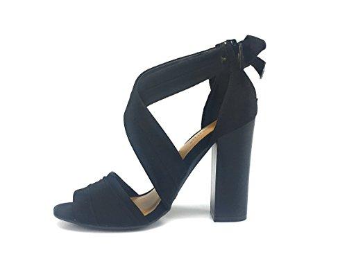Bamboo Faux Suede Peep Toe Tobillo Abrigo Chunky Heel Sandal Negro