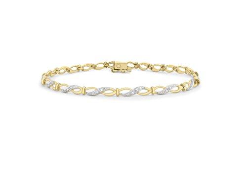 "Jewellery World Bague en or jaune 9carats Diamant Infinity Link Bracelet 19cm/7,5"""