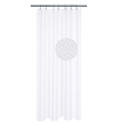 Small Stall Shower Curtain 42 inch Wide - Fabric, Waffle Weave, Hotel Collection, Water Repellent, Machine Washable, White - Pique Pattern for Decorative Bathroom Curtains (230 GSM)